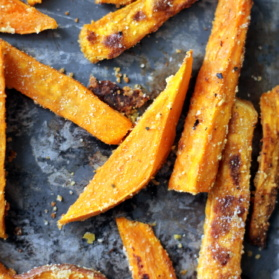Baked sweet potato fries on a baking tray