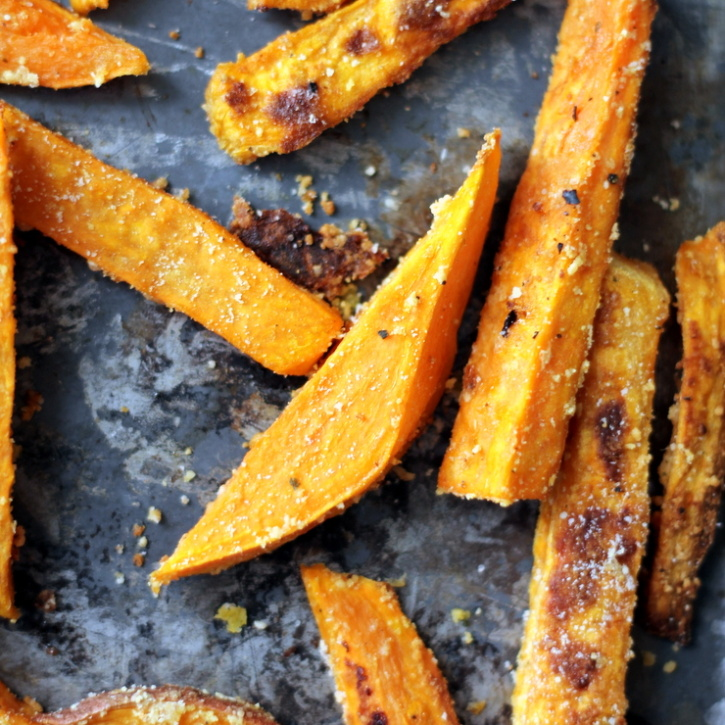 Healthy Baked Sweet Potato Fries with Parmesan and Garlic