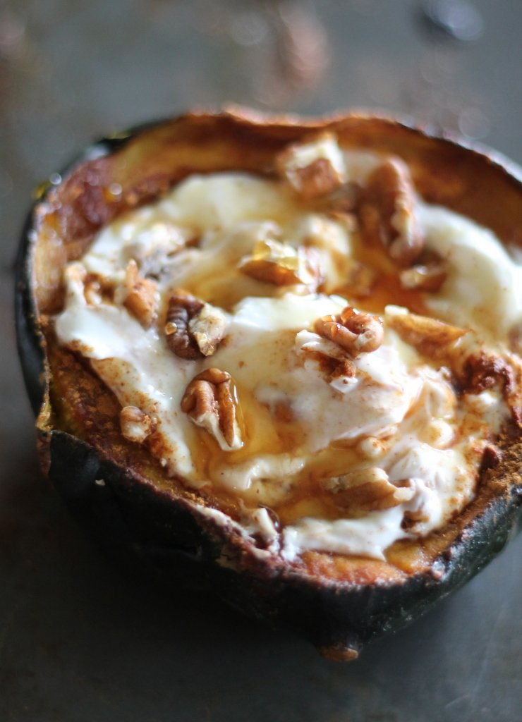 The warm cinnamon sweet acorn squash paired with creamy cool greek yogurt, a drizzle of honey and some crunchy pecans is simply sensational. Best breakfast I've had in quite sometime!
