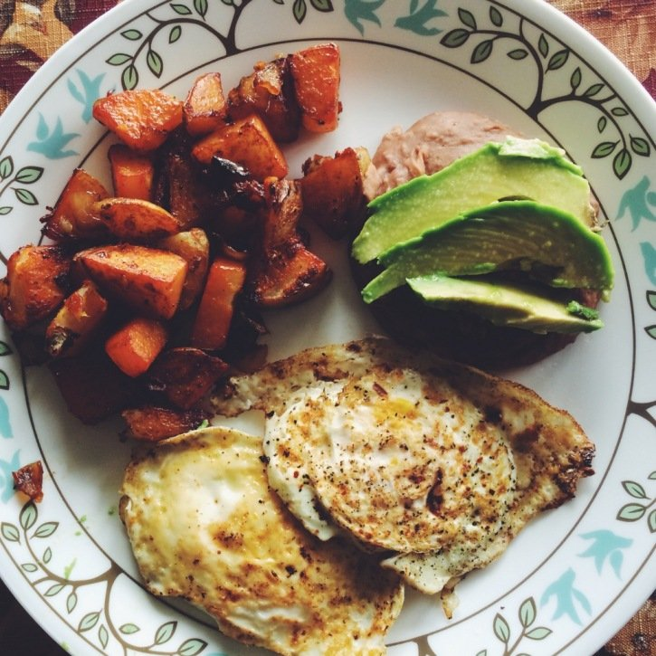 Eggs, sweet potato, and avocado on a plate