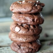 Chewy double chocolate chip cookies in a stack