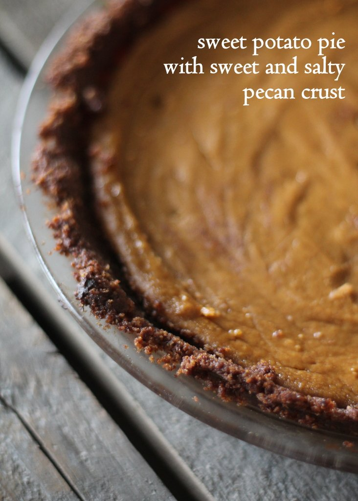 Lightened up sweet potato pie with text overlay