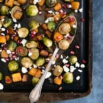 Garlic Chili-Maple Roasted Butternut Squash & Brussels Sprouts with Pomegranate + Gorgonzola