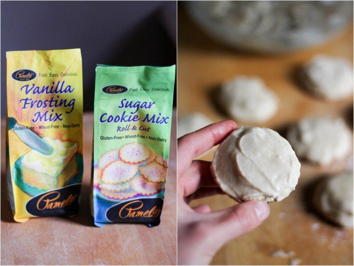 collage of gluten free sugar cookie mix with gluten free banana sugar cookies
