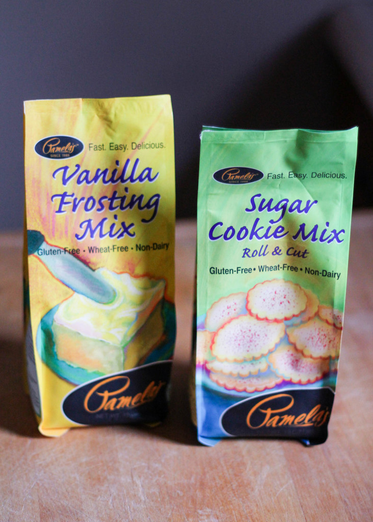 gluten free sugar cookie mix next to vanilla frosting mix