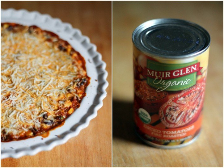 Collage of quinoa enchilada bake next to a can of tomatoes