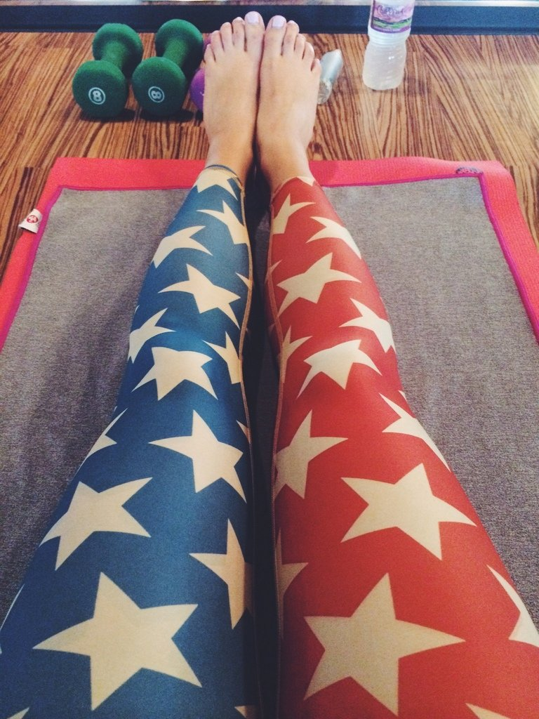 Stars and stripe leggings on a yoga mat