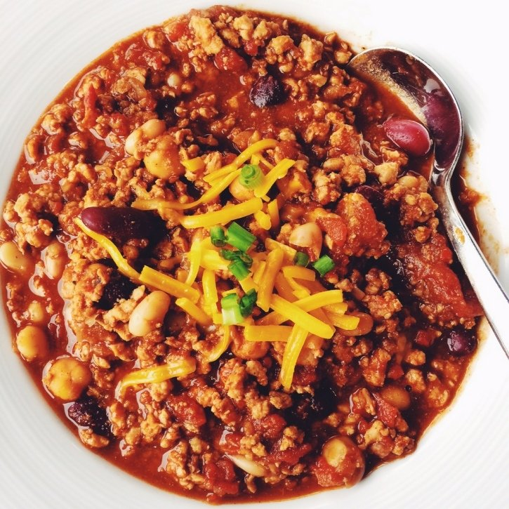 Bowl of turkey chili with a spoon