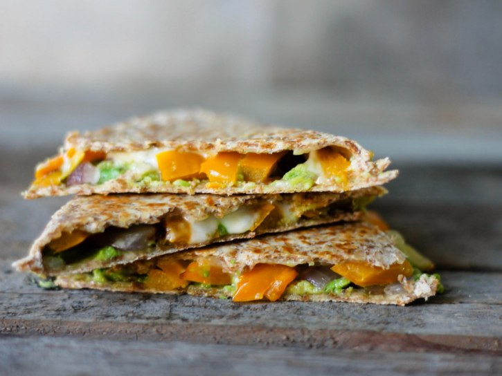 Avocado, roasted bell pepper, and pepper jack quesadillas