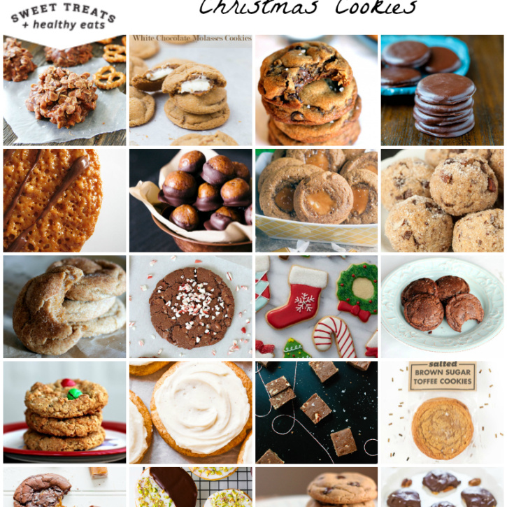 1. No Bake Chocolate Peanut Butter Pretzel Cookies by Two Peas and Their Pod 2. White Chocolate Stuffed Molasses Cookies by Oh Sweet Basil 3. Nutella-Stuffed + Brown Butter Chocolate Chip Cookies by Ambitious Kitchen 4. Easy Homemade Thin Mints by Averie Cooks 5. Florentine Lace Cookies by An Edible Mosaic 6. Healthy Peanut Butter Buckeyes by A Couple Cooks (GF) 7. Gingerbread Caramel Thumbprints by Healthy Delicious 8. Grain Free and Vegan Chocolate Hazelnut Cookies by Texanerin Baking (GF) 9. Brown Butter Snickerdoodles by Ambitious Kitchen 10. Chocolate Peppermint Crunch Cookies by The BakerMama 11. Sugar Cookie Cutouts by The Lemon Bowl 12. 5-Ingredient Fudgy Nutella Cookies with Sea Salt by Ambitious Kitchen 13. Peanut Butter M&M Monster Cookies by Sugar Plum Blog 14. Frosted Chai-Spiced Snickerdoodles by Sally's Baking Addiction 15. Easy Salted Oat Fudge by Cookie and Kate (GF) 16. Salted Brown Sugar Toffee Cookies by Wit and Vinegar 17. Salted Caramel Dark Chocolate Brownie Cookies by Back to Her Roots 18. Pistachio Black and White Cookies by Cooking Classy 19. The Best Gluten Free Chocolate Chip Cookies by Ambitious Kitchen (GF) 20. Homemade Turtles by Averie Cooks