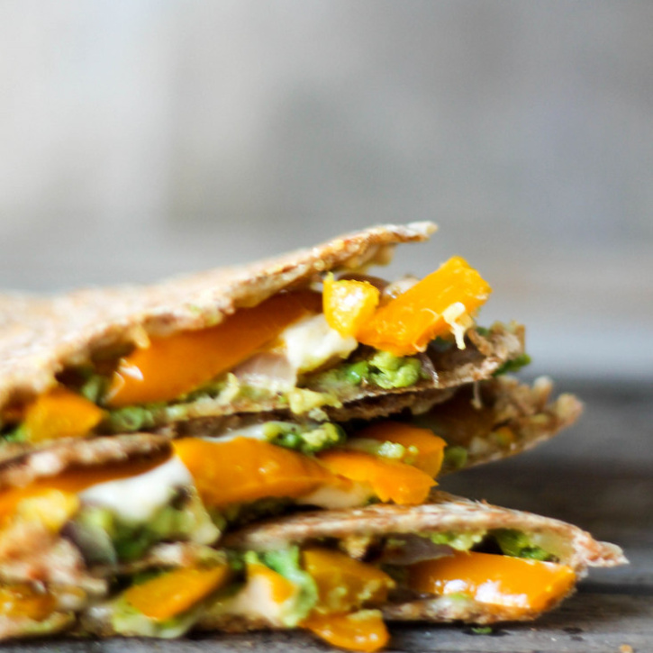 Smashed Avocado, Roasted Bell Pepper and Pepper Jack Quesadillas