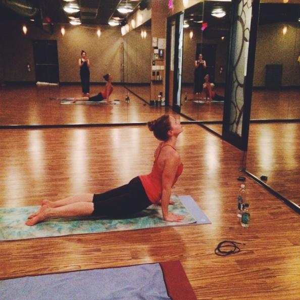 Monique doing yoga