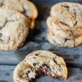 Olive oil chocolate chip cookies made with whole wheat flour and no butter! No one can tell the difference.