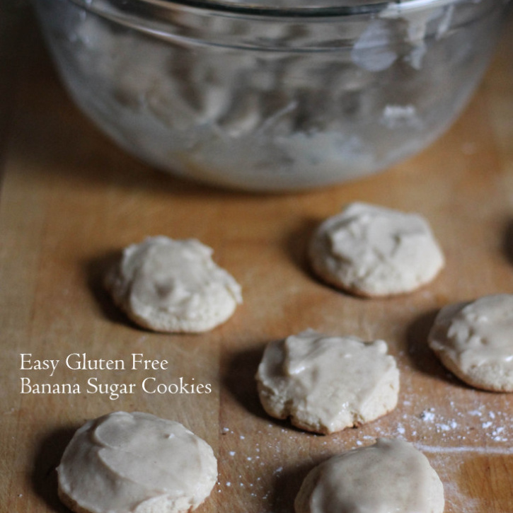 Gluten Free Banana Sugar Cookies with brown butter frosting - super easy to make!
