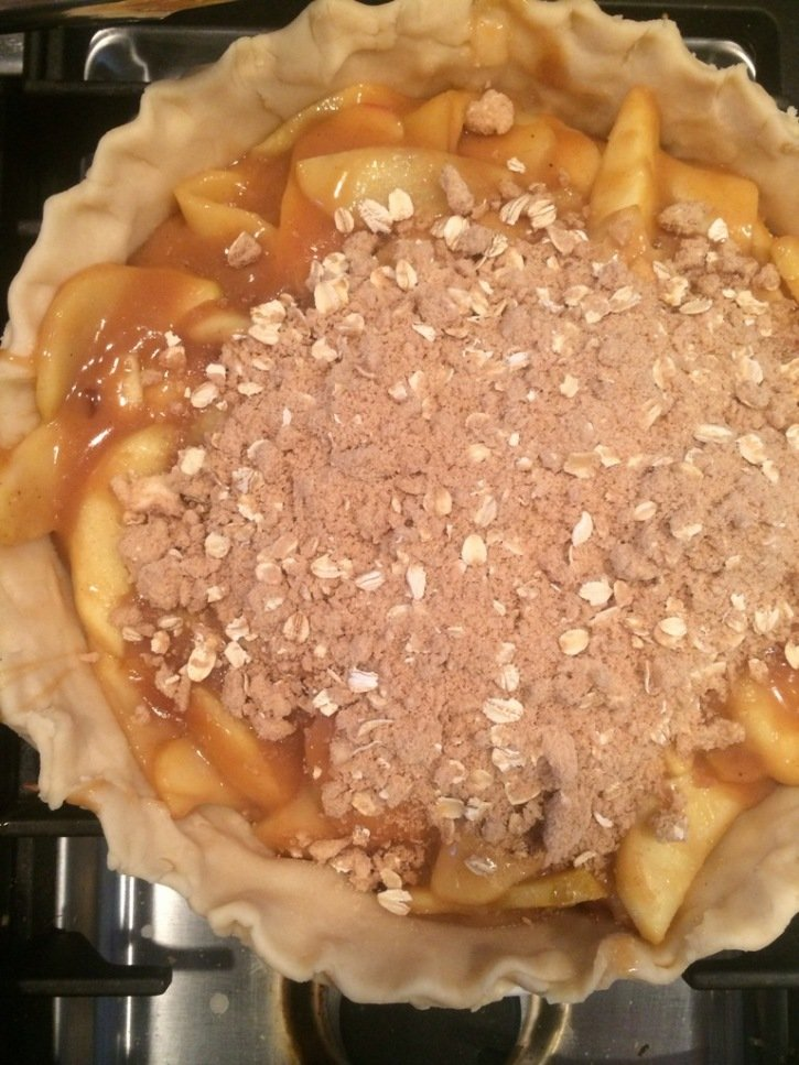 Unbaked dutch apple pie