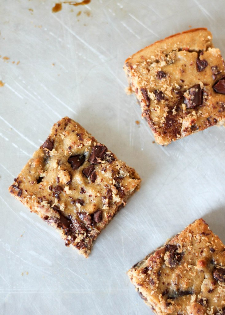 Peanut butter banana chocolate chip chickpea blondies