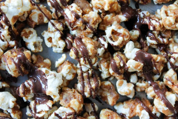 Peanut butter caramel corn drizzled with chocolate