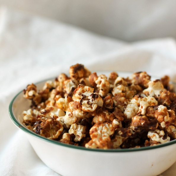 Peanut butter caramel corn in a bowl