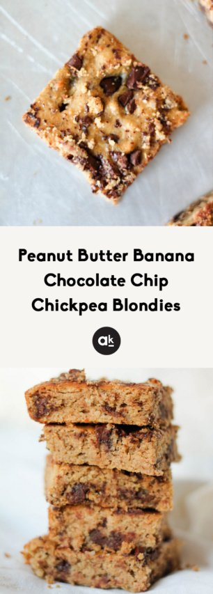 collage of peanut butter banana chocolate chip chickpea blondies