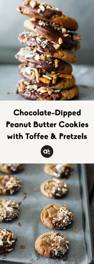 collage of Chocolate dipped peanut butter cookies