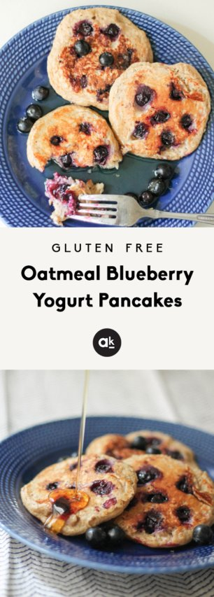 Collage of Oatmeal yogurt pancakes with blueberries
