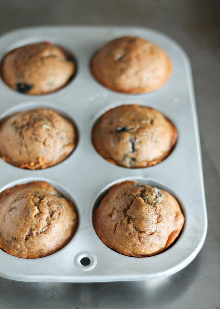 Blueberry Zucchini Muffins in pan
