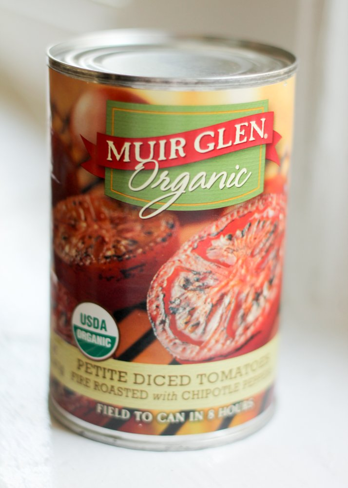 can of Muir glen diced tomatoes for chipotle turkey chili