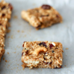 Chewy Coconut Cashew Almond Granola Bars cut in squares