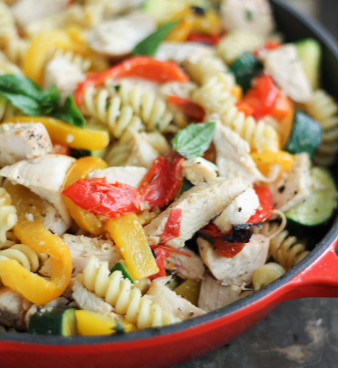Garlic Parmesan Pasta With Chicken Roasted Bell Peppers