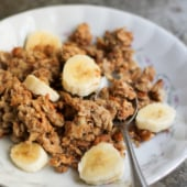 Peanut butter banana baked oatmeal in a bowl