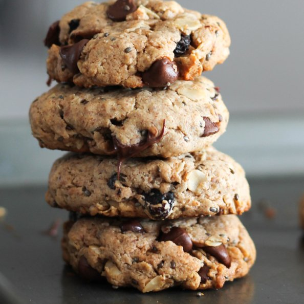Chocolate chip oatmeal breakfast cookies in a stack