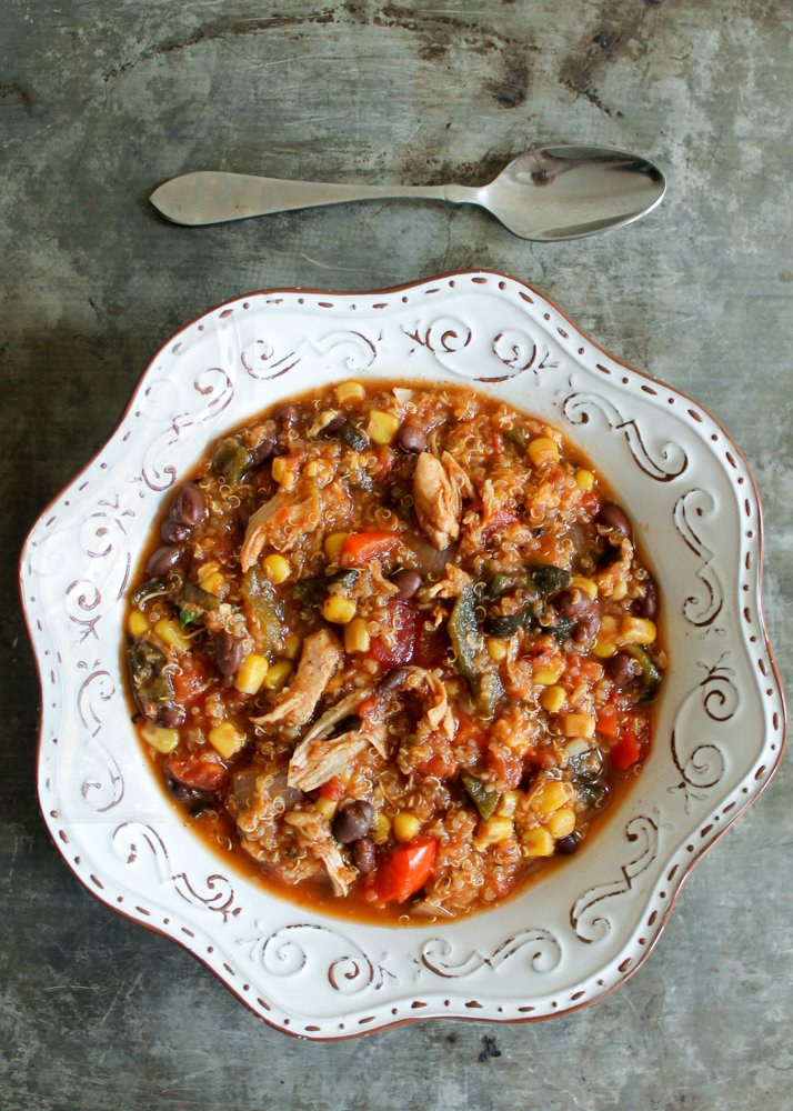Slow Cooker Black Bean, Quinoa & Chicken Tortilla Soup | Ambitious ...