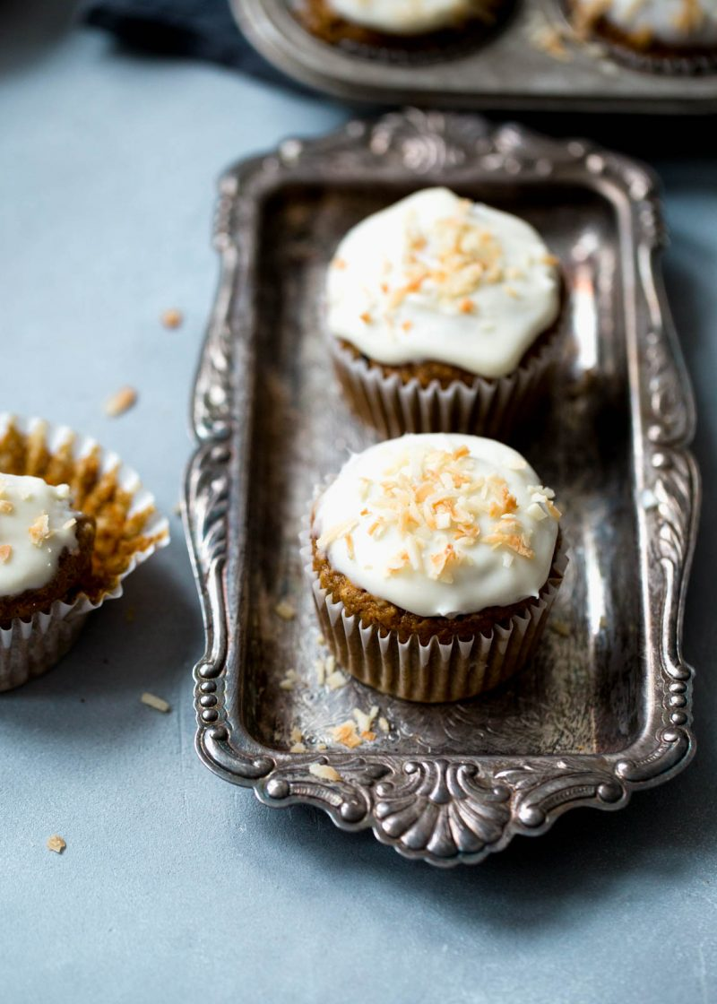 Healthy carrot cake muffins on a vintage tray