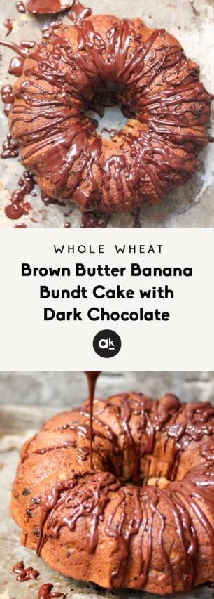 collage of Banana bundt cake