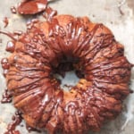 bundt cake drizzled with chocolate