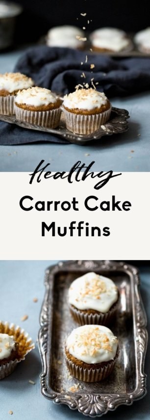 collage of healthy carrot cake muffins
