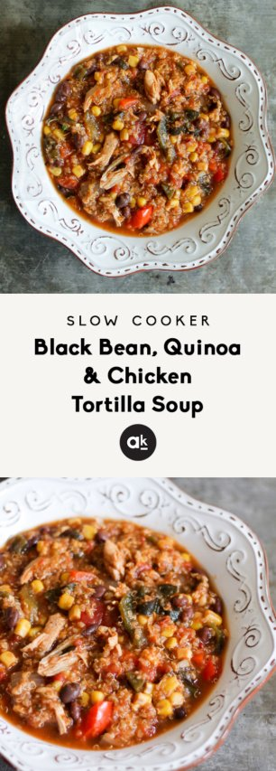 Slow cooker quinoa chicken tortilla soup