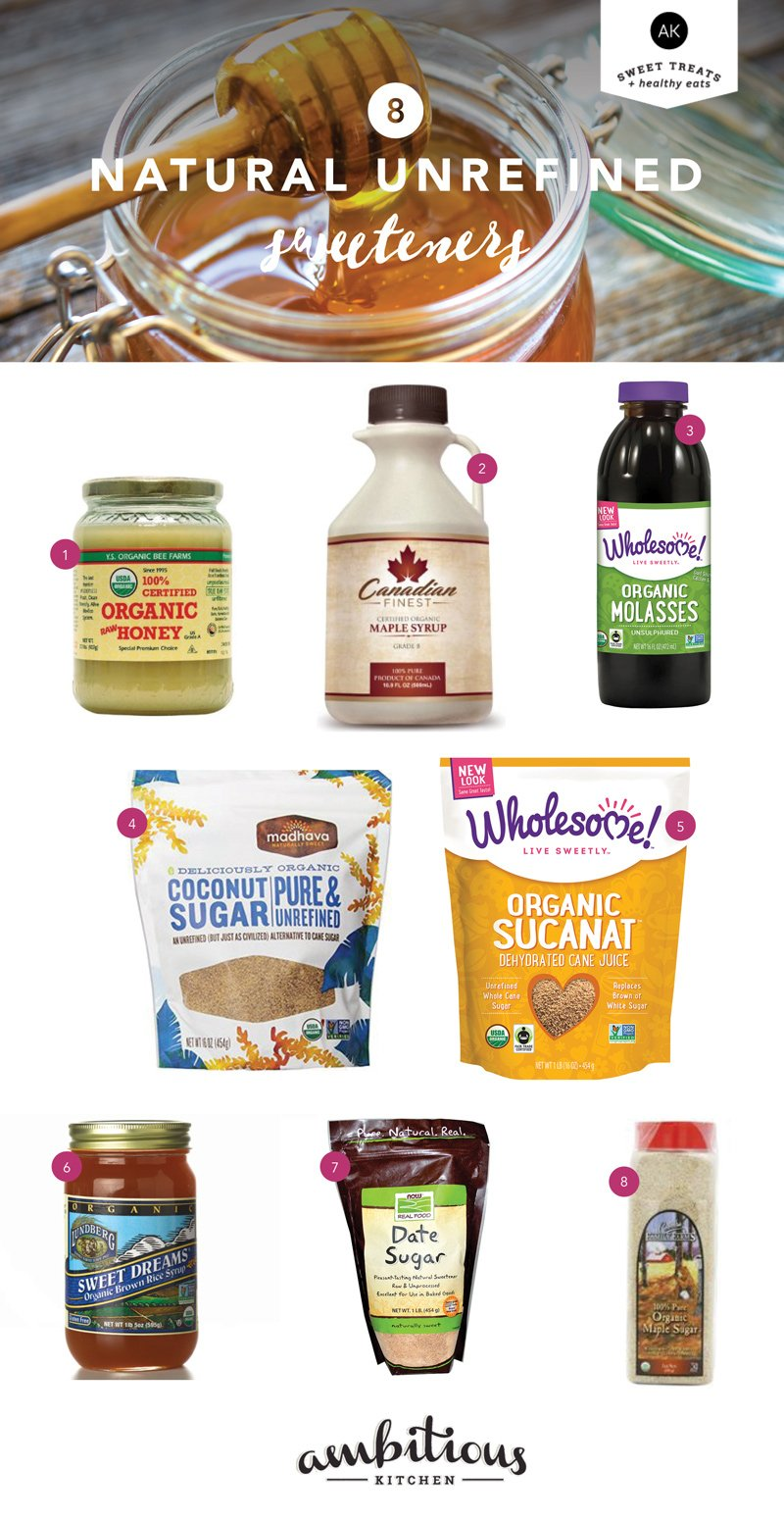 A guide to 8 Natural unrefined sweeteners + how to use them instead of sugar.