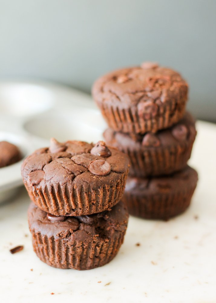 Protein and fiber packed flourless black bean brownie muffins! Taste like a cakey-delicious brownie except without all the guilt. No one can tell they're made with beans!