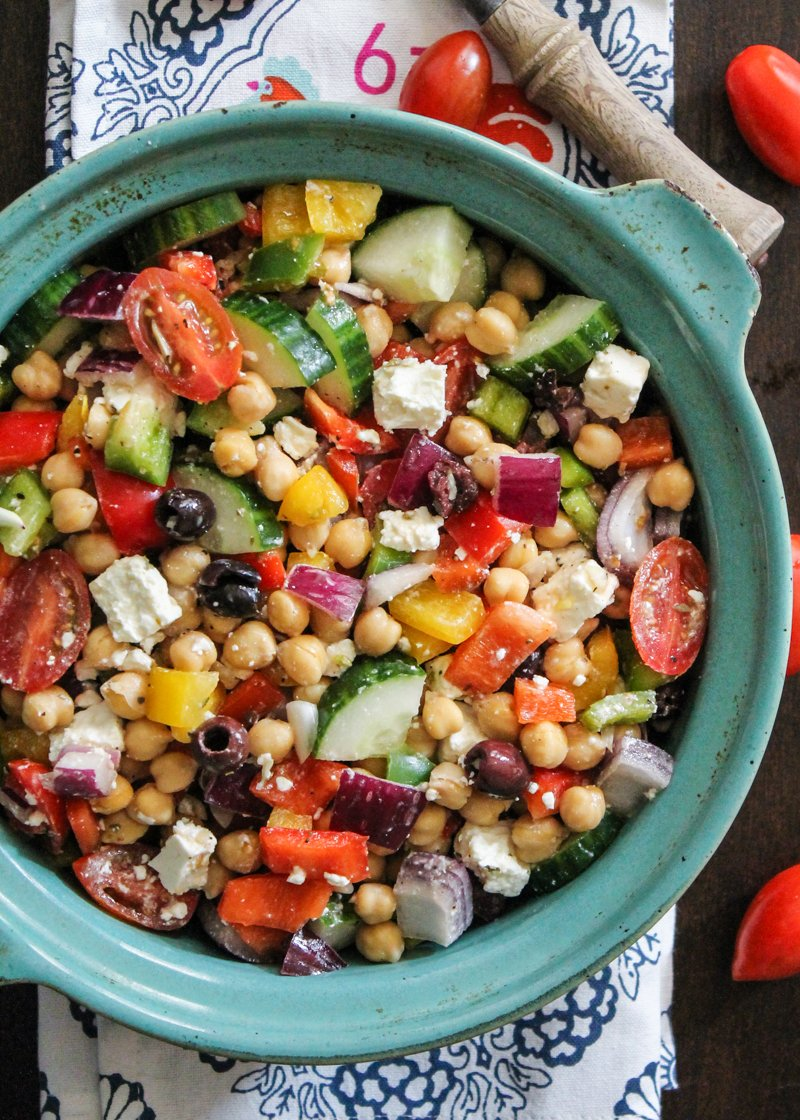 Vegetarian Chickpea Salad With Olives, Feta, Tomatoes, Onion, Garlic And A  Light