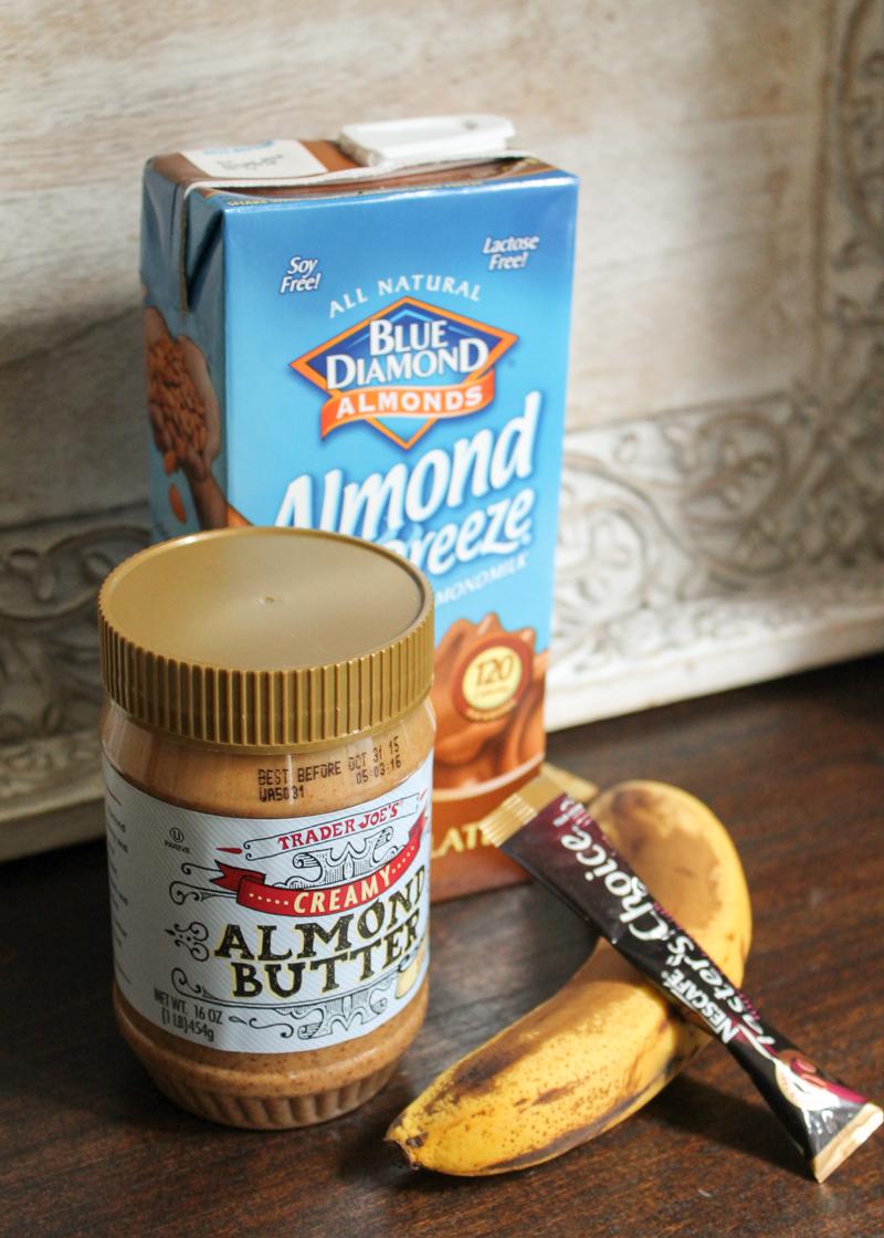almond butter, banana, and almond breeze almondmilk to make a smoothie bowl