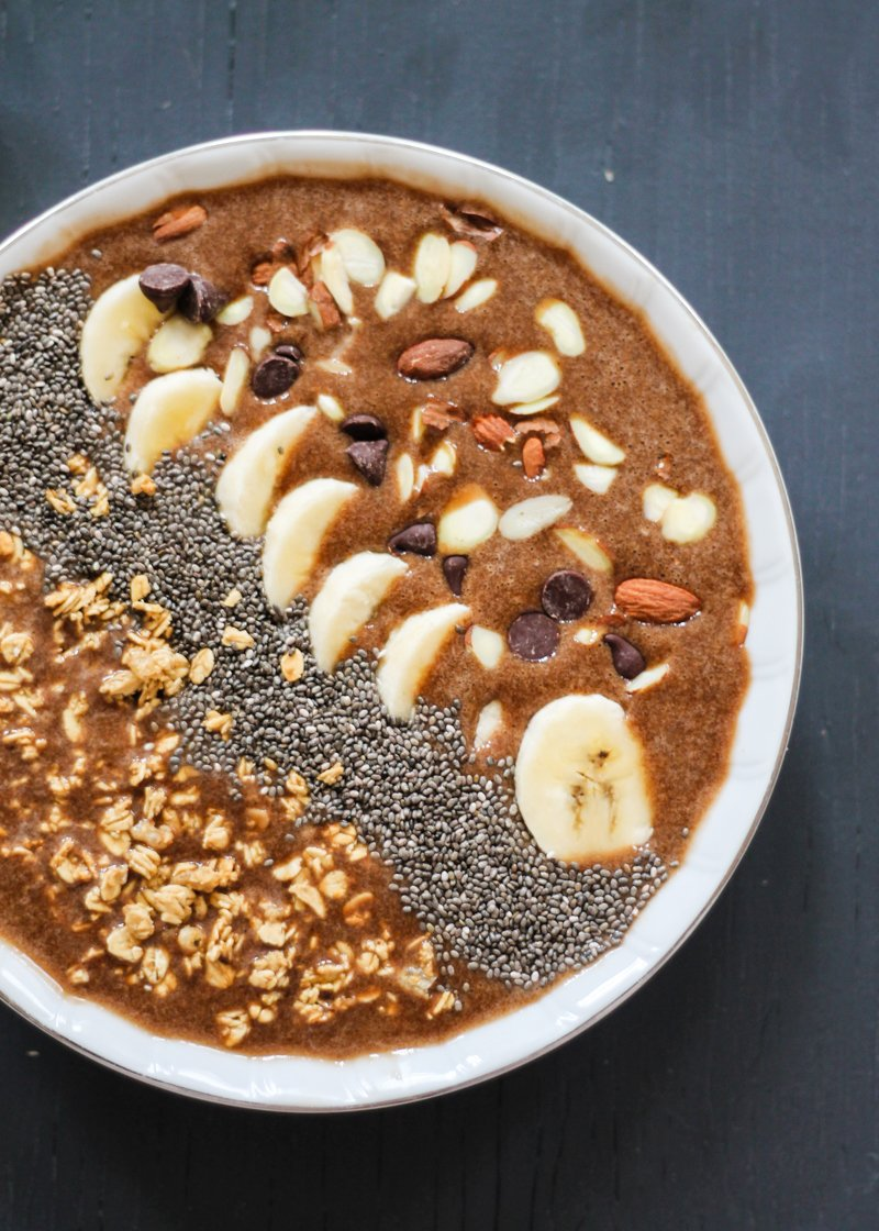 Mocha banana protein smoothie bowl