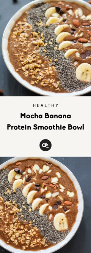 Mocha Banana Protein Smoothie Bowl collage