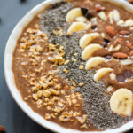 protein smoothie with toppings in a bowl