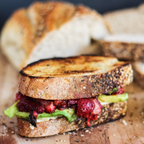 grilled cheese with strawberries and avocado