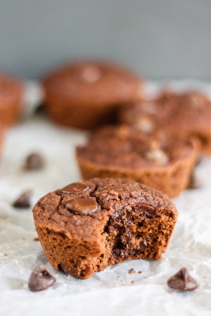 double chocolate coconut flour muffin with a bite taken out