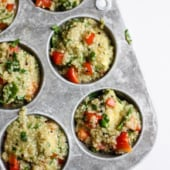 Scrumptious quinoa frittatas baked in a muffin pan and loaded with veggies and creamy bites of avocado. Naturally gluten free and a healthy on the go breakfast!