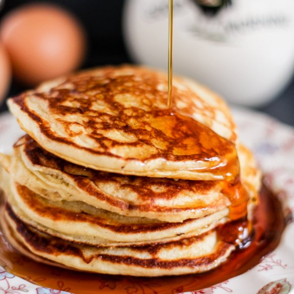 quinoa flour pancakes in a stack