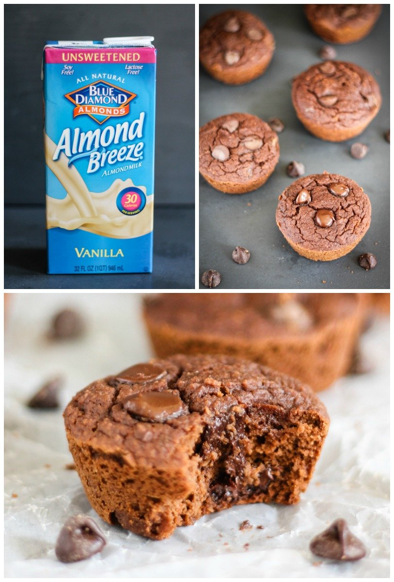collage of Double Chocolate Coconut Flour Muffins