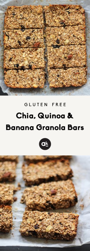 collage of banana granola bars